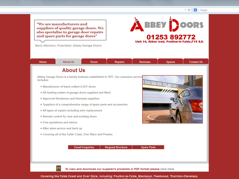 Screenshot - Abbey Garage Doors website