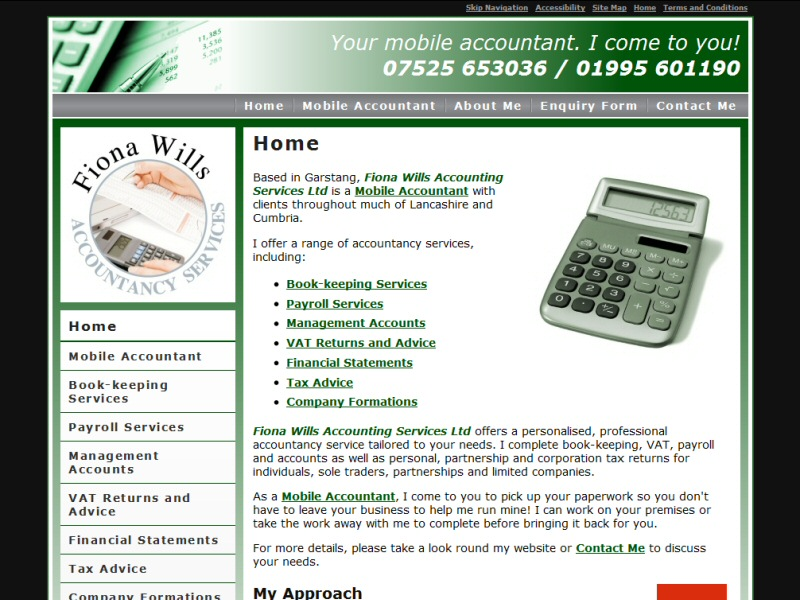 Screenshot - Fiona Wills Accountancy Services Ltd website