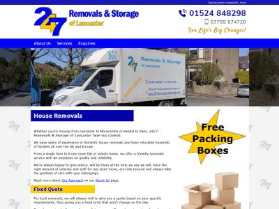 Screenshot - 24/7 Removals & Storage of Lancaster website