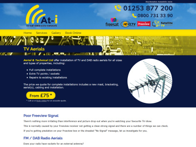 Screenshot - Aerial and Technical website