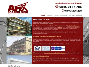 Screenshot - Apex Scaffolders website