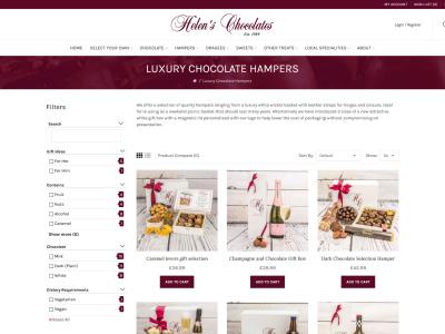 Screenshot - Helen's Chocolates website