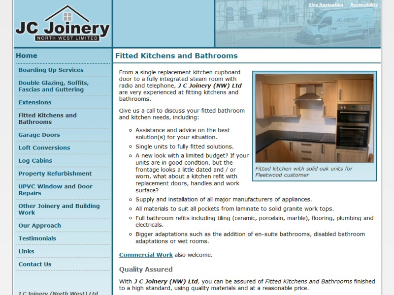Screenshot - J C Joinery (NW) Ltd website