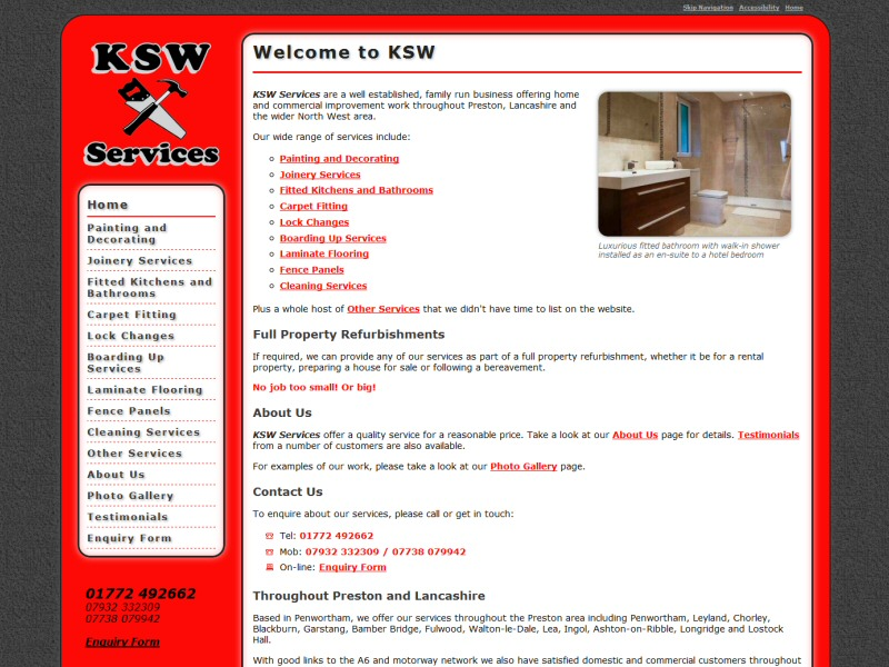 Screenshot - KSW Services website