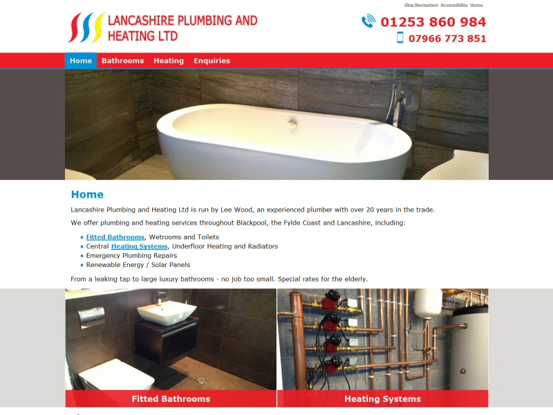 Screenshot - Lancashire Plumbing and Heating Ltd website