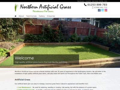 Screenshot - Northern Artificial Grass website