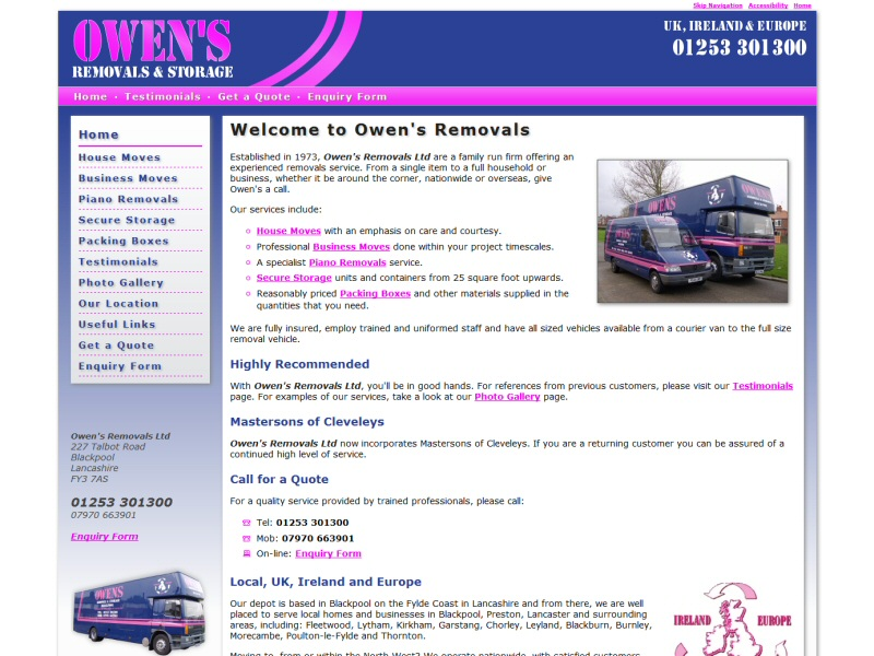Screenshot - Owen's Removals website