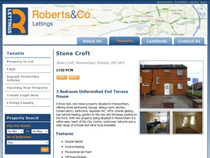 Screenshot - Roberts and Co Lettings website