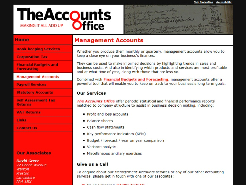 Screenshot - The Accounts Office website