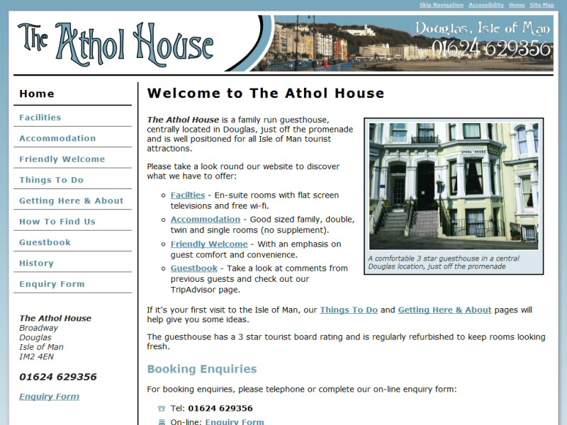 Screenshot - The Athol House website