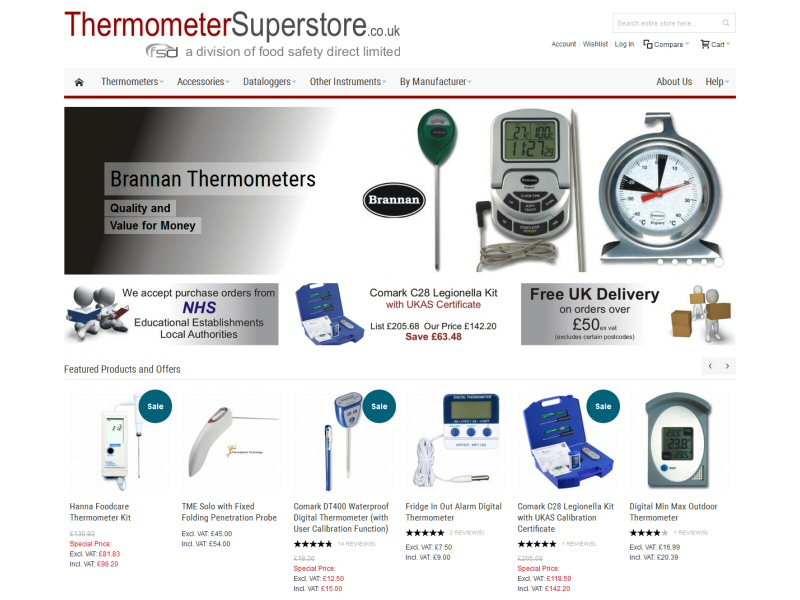 Screenshot - Thermometer Superstore website