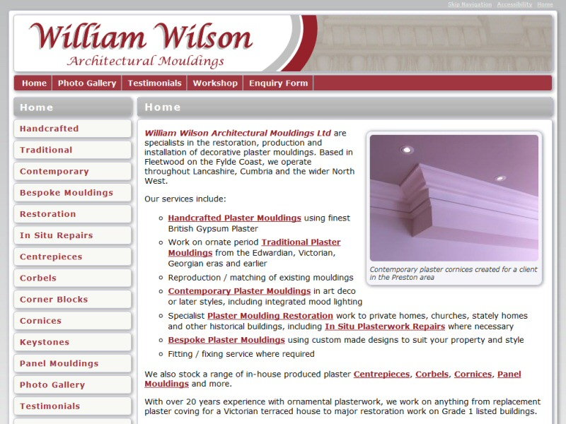 Screenshot - William Wilson Architectural Mouldings website