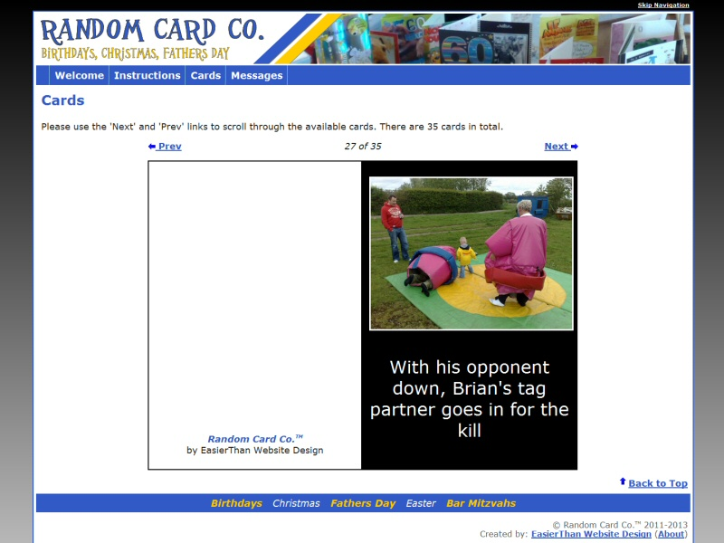 Random Card Co Website, © EasierThan Website Design