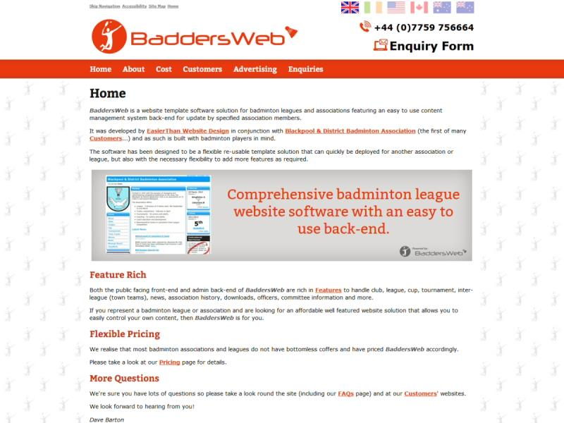 BaddersWeb Website, © EasierThan Website Design