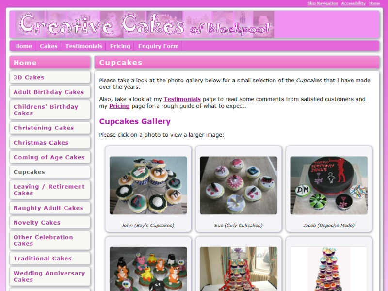 Successful portfolio website with upload facilities, showcasing the work of a Blackpool cake maker