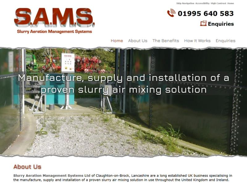 Slurry Aeration Management Systems Ltd Website, © EasierThan Website Design