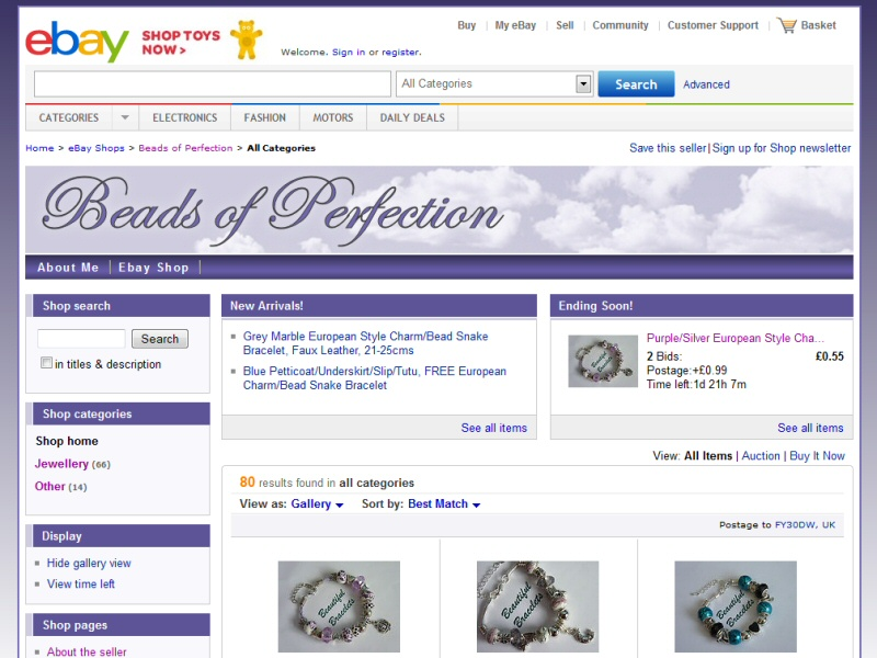Beads of Perfection Website, © EasierThan Website Design