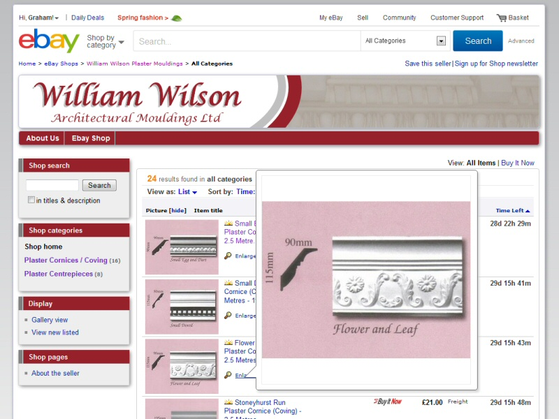 William Wilson Architectural Mouldings (eBay Shop) Website, © EasierThan Website Design
