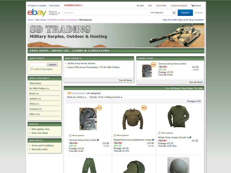 SD Trading (eBay Shop) Website, © EasierThan Website Design