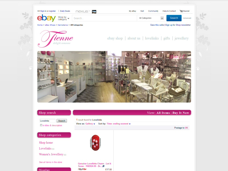 Tienne Ltd (eBay Shop) Website, © EasierThan Website Design
