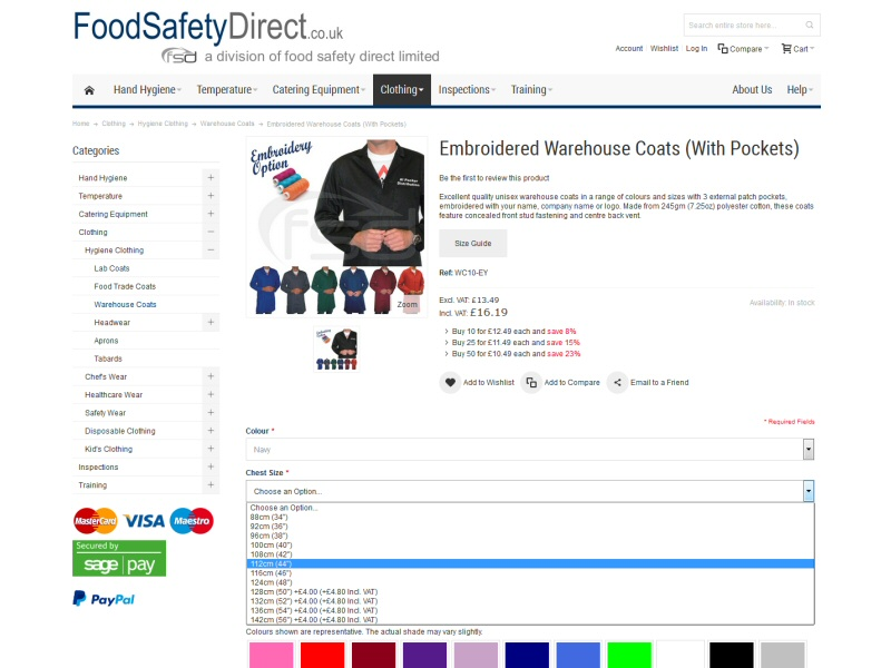 Implementation of a Magento website with embroidery options for Lancaster business
