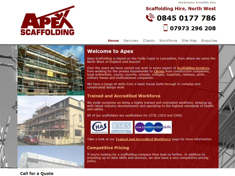 Apex Scaffolding Website, © EasierThan Website Design