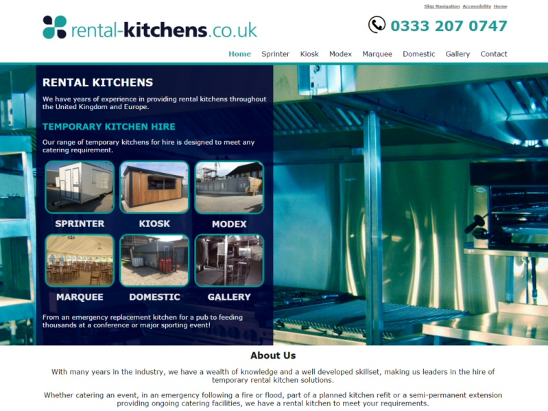 Rental Kitchens Website, © EasierThan Website Design