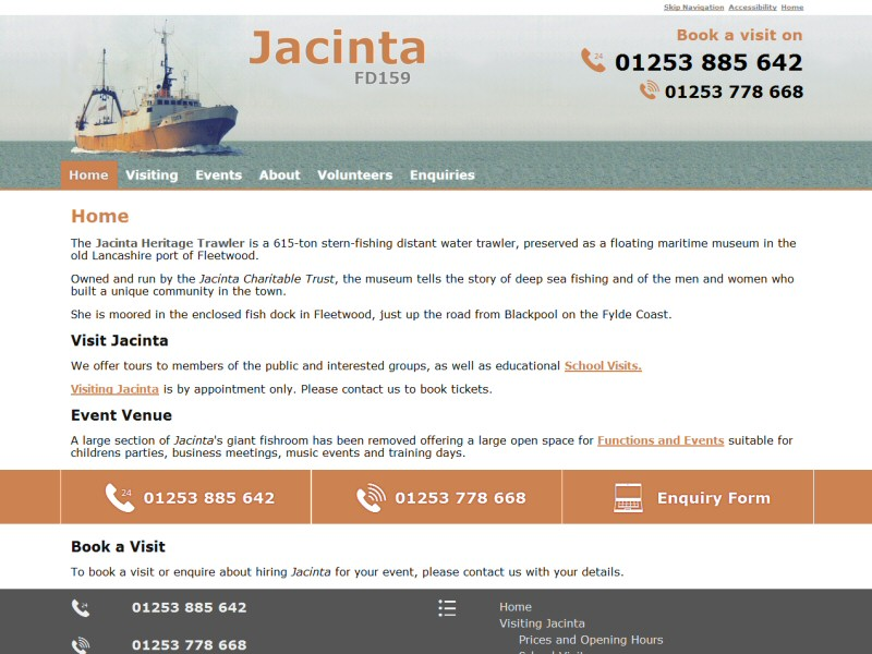 Jacinta Heritage Trawler Website, © EasierThan Website Design