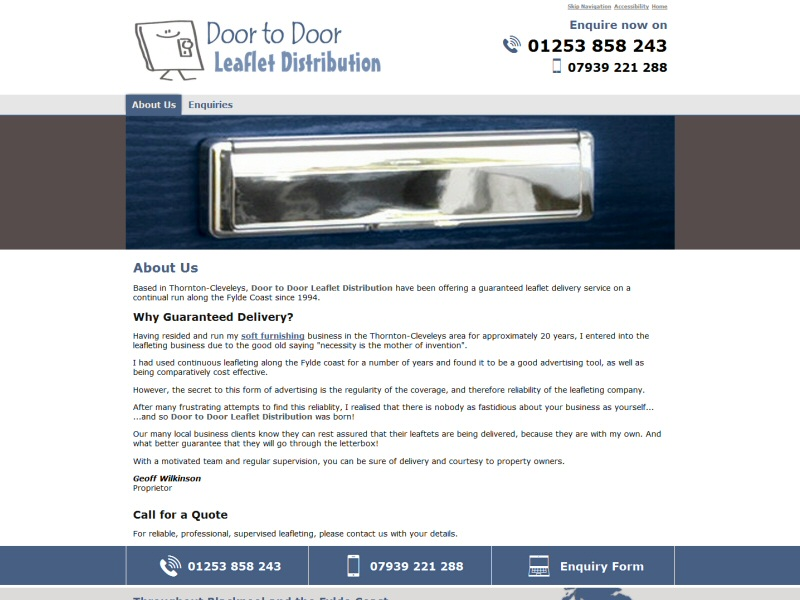 Door to Door Leaflet Distribution Website, © EasierThan Website Design