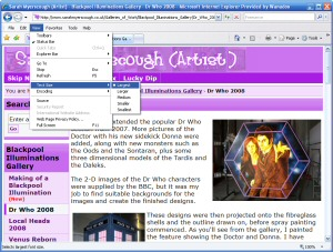 Example of resizing the text in Microsoft Internet Explorer