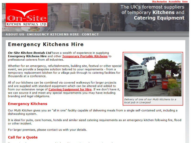 On-Site Kitchen Rentals Ltd (Emergency Kitchen Hire) Website, © EasierThan Website Design