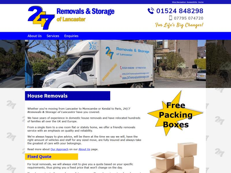 24/7 Removals & Storage of Lancaster Website, © EasierThan Website Design
