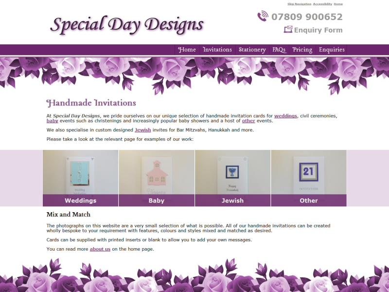 Special Day Designs Website, © EasierThan Website Design