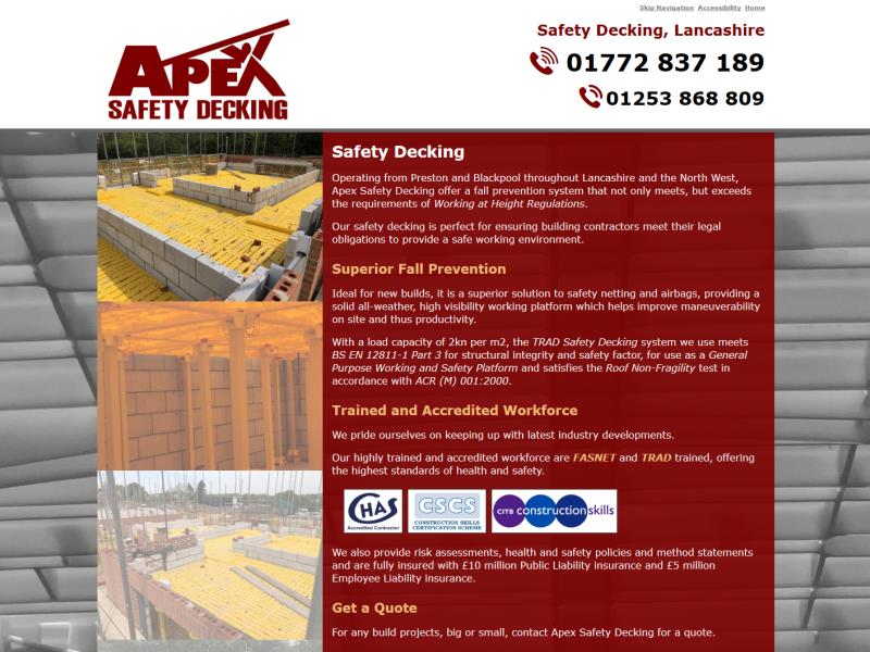 Apex Safety Decking Website, © EasierThan Website Design
