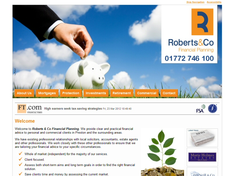 Website developed for Roberts and Co Financial Planning of Penwortham, Preston