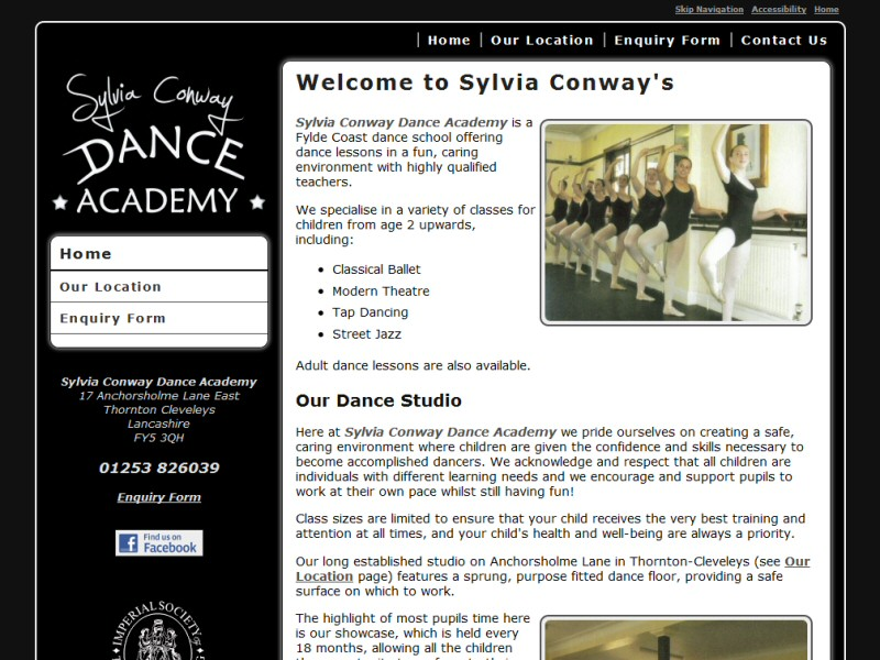 Simple website design for a dance studio located in the Thornton-Cleveleys area