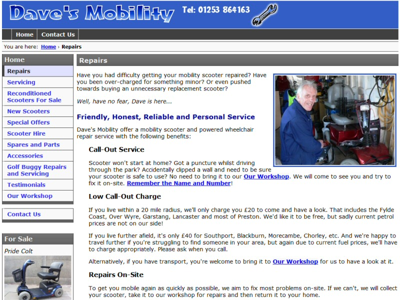 Dave's Mobility Website, © EasierThan Website Design