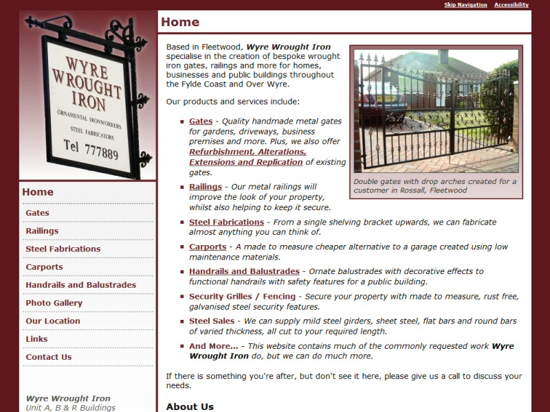 Successful web design for a Fleetwood business specialising in wrought ironwork