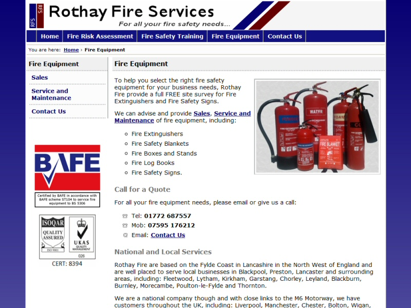 Rothay Fire Services Website, © EasierThan Website Design