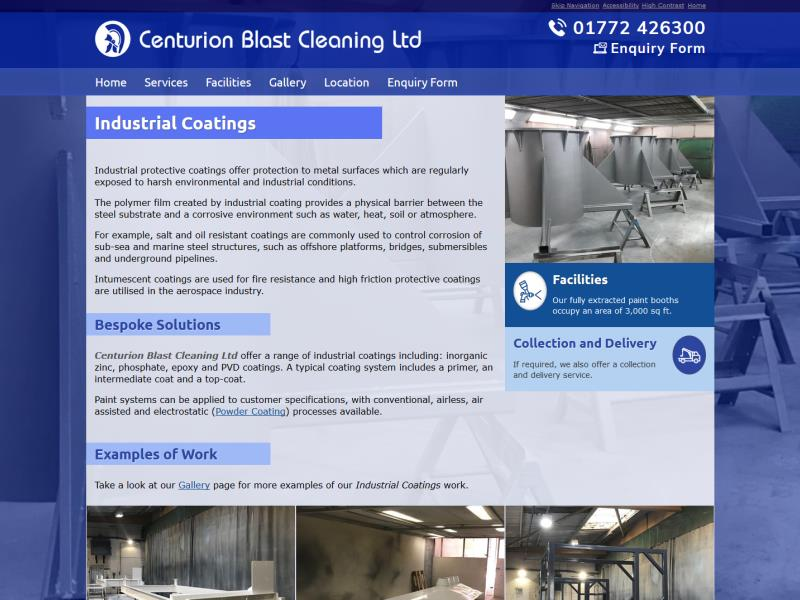 Replacement website for Centurion Blast Cleaning Ltd of Leyland, near Preston