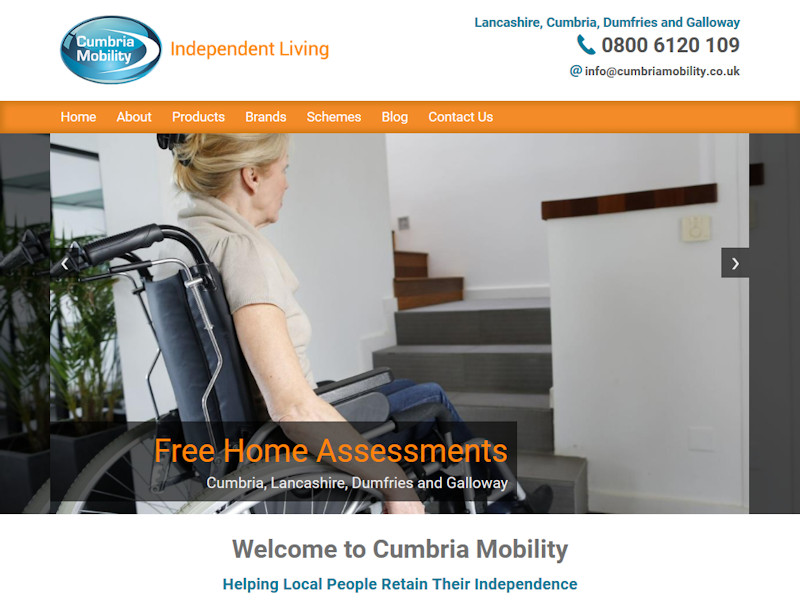 Replacement website for mobility equipment specialists working throughout the North West