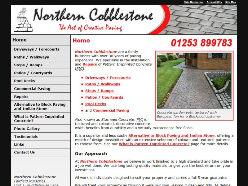 Web design for a Poulton-le-Fylde based business operating throughout the North West