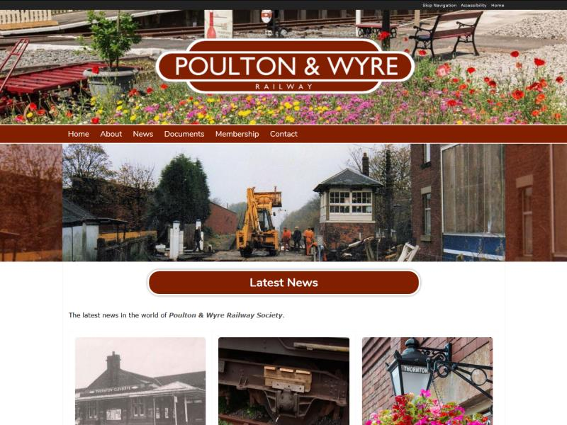 Poulton & Wyre Railway Society Website, © EasierThan Website Design