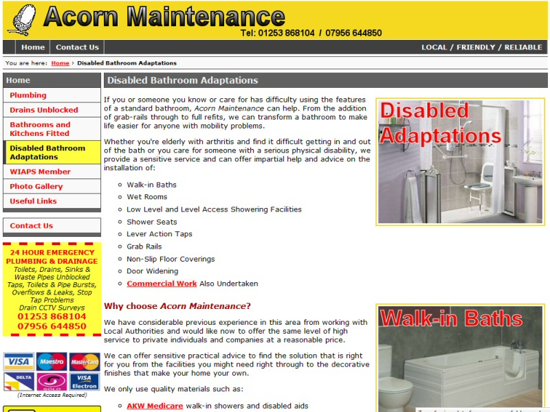 Acorn Maintenance Website, © EasierThan Website Design